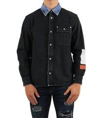 heron preston spray denim shirt black blu