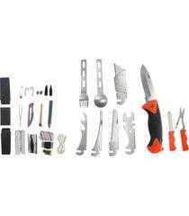 kit multifunção azteq bush com canivete, estilete, talheres, tesoura, chave de boca laranja