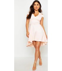 bardot plunge high low skater dress, nude