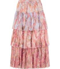 zimmermann floral print ruffled skirt