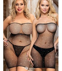 off-shoulder fishnet mini jurk