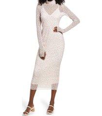 afrm shailene sheer long sleeve dress, size large in blush spring disty at nordstrom