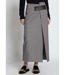 proenza schouler melange virgin wool wrap skirt light grey 6