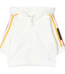 fendi white sweatshirt with hood and multicolor bands