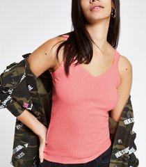 river island womens neon pink ribbed vest