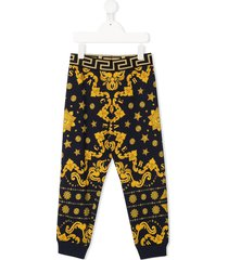 young versace barocco western print track pants - blue
