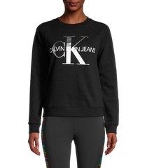 calvin klein jeans women's metallic logo sweatshirt - black - size s
