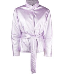 gina belted faux-leather jacket - purple