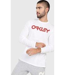 camiseta manga larga blanco-rojo oakley