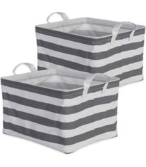 design imports polyethylene coated cotton polyester laundry bin stripe rectangle medium set of 2