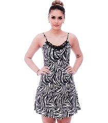 camisola ficalinda de alça fina estampa zebra com renda guipir preta no decote - kanui