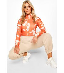 plus tie dye rib turtleneck top, rust