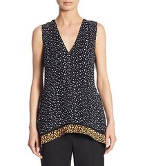 printed v-neck silk top
