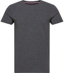 stretch slim fit tee t-shirts short-sleeved grå tommy hilfiger