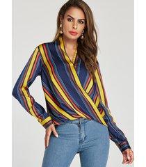 blusa de diseño frontal cruzado con cuello en v de rayas multicolores
