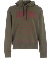 versace jeans couture logo label print sweatshirt in amry green