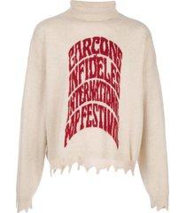 garçons infidèles distressed rollneck knit sweater - neutrals
