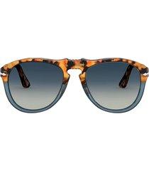 persol persol po0649 brown tortoise & opal blue sunglasses