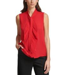 calvin klein tie-neck sleeveless ruffle blouse