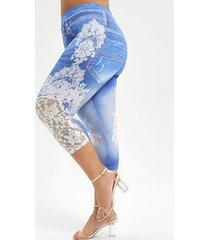 lace panel printed capri plus size jeggings