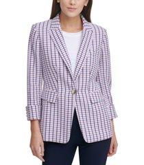 dkny petite patterned cuffed blazer