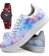 tênis sapatênis fashion tie dye com relógio chili feminino dubuy 734el colorido
