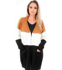 casaco cardigan livora longo bolsos feminina