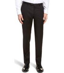 men's boss lenon cyl flat front straight leg solid wool dress pants, size 36r - black