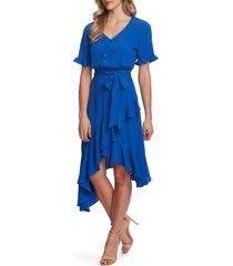women's cece ruffle belted high/low dress, size 12 - blue
