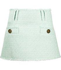 balmain tweed mini skirt - green
