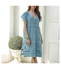 embroidered cotton shift dress, 'paisley garden in sky blue' (india)