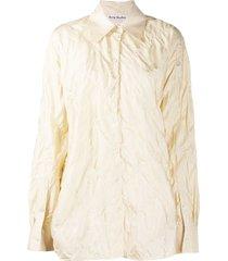 acne studios quilted silk shirt - neutrals