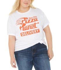 love tribe trendy plus size cotton pizza planet graphic t-shirt