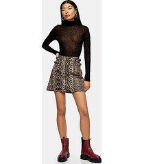 leopard print denim mini skirt - multi