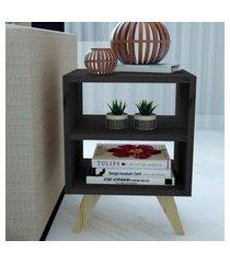 mesa de cabeceira/criado mudo natural & colors 3 prateleiras pretas pé mini único