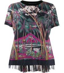 sacai beach print blouse - black