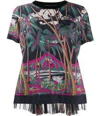 sacai beach print blouse - black