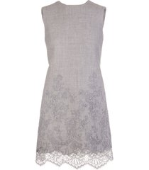 grey wool short dress with lace insert