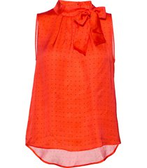 3356 - prosa top tie blouse mouwloos rood sand