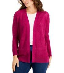 karen scott open-stitch cardigan sweater, created for macy's