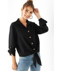 yoins negro classic blusa con cuello y botones en la parte delantera