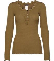 silk t-shirt ls regular w/button & t-shirts & tops long-sleeved beige rosemunde