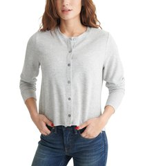 women's lucky brand cloud jersey cardigan t-shirt, size xx-large - brown