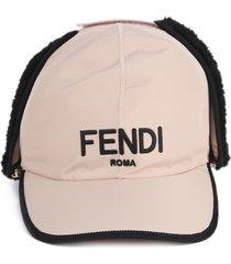 fendi pink nylon baseball hat
