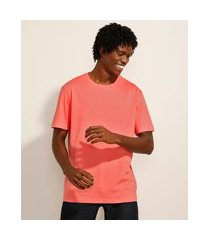 camiseta básica manga curta gola careca coral
