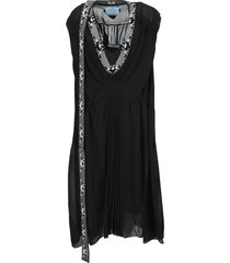 prada knit detail silk dress