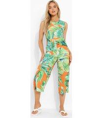 palm print culotte jumpsuit met touwtjes, orange