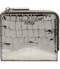sylvia croc-embossed leather bi-fold wallet