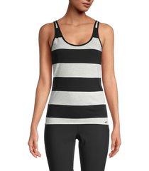 n:philanthropy women's striped cotton tank top - black oatmeal - size m