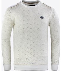 sweater gabbiano denim jersey geometrische print sweater ecru